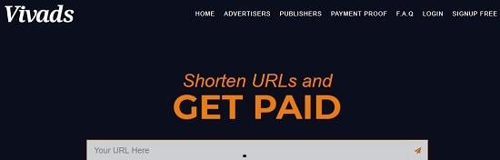 VivAds url shortener site